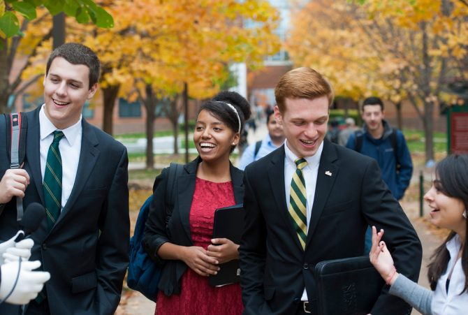 Students walk at the Fairfax campus. Photo by Alexis Glenn/Creative Services/George Mason University