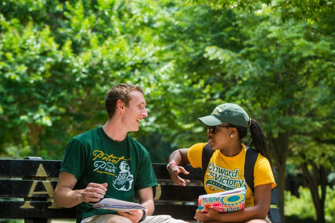 Patriot Leaders photo shoot near Sub I at the Mason benches on Fairfax Campus. Photo by Craig Bisacre/Creative Services/George Mason University