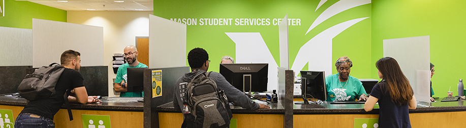 Mason Student Services Center, located in SUB I, is helps students with registration, enrollment, financial aid, billing and other services. Photo by Lathan Goumas/Office of Communications and Marketing Photo Taken:Wednesday, September 4, 2019
